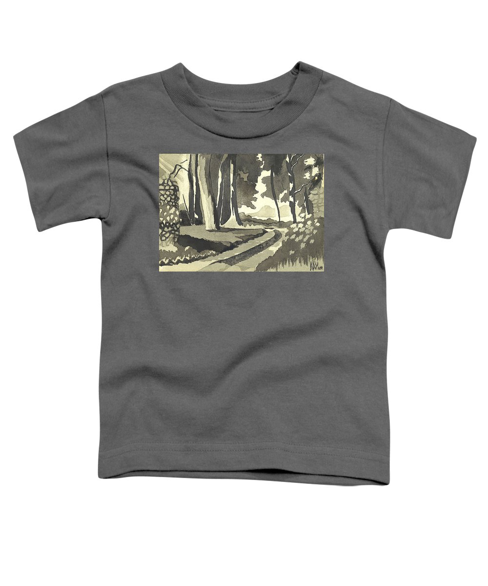 Rural Toddler T-Shirt featuring the painting Country Lane In Evening Shadow by Kip DeVore