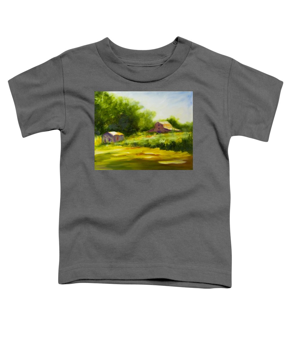 Landscape In Green Toddler T-Shirt featuring the painting Courage by Shannon Grissom