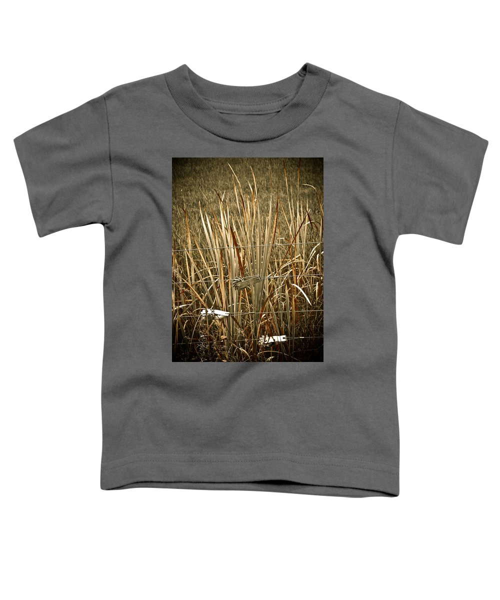 Americana Toddler T-Shirt featuring the photograph Cowboy Fence by Marilyn Hunt