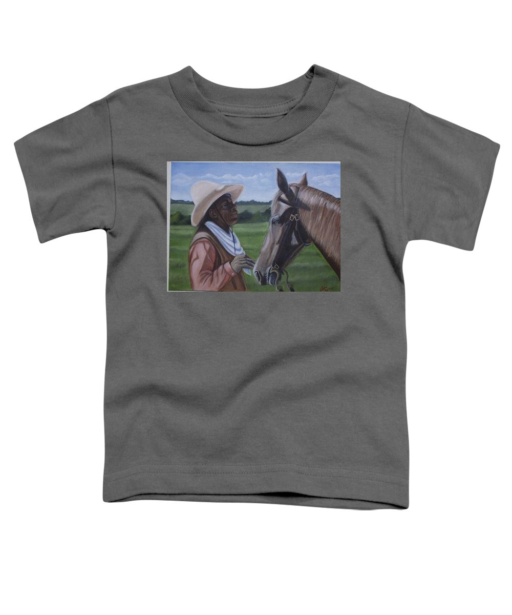 Portrait Toddler T-Shirt featuring the painting Cowboy2 by Toni Berry