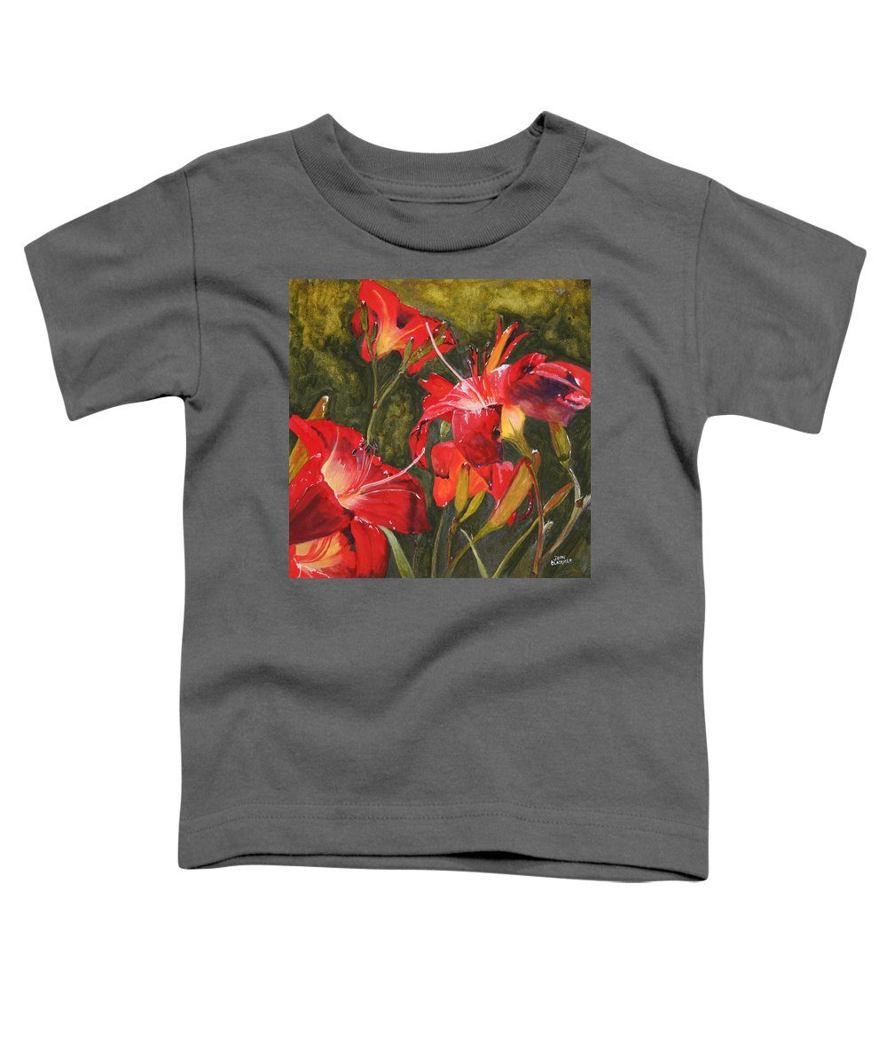 Red Toddler T-Shirt featuring the painting Crimson Light by Jean Blackmer