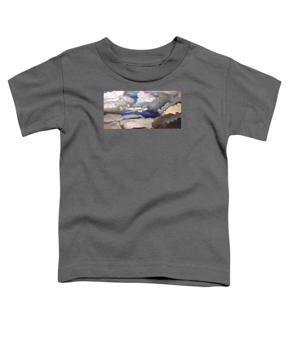 Aviation Toddler T-Shirt featuring the painting Crossing Over Amelia Earharts Final Flight by Marc Stewart