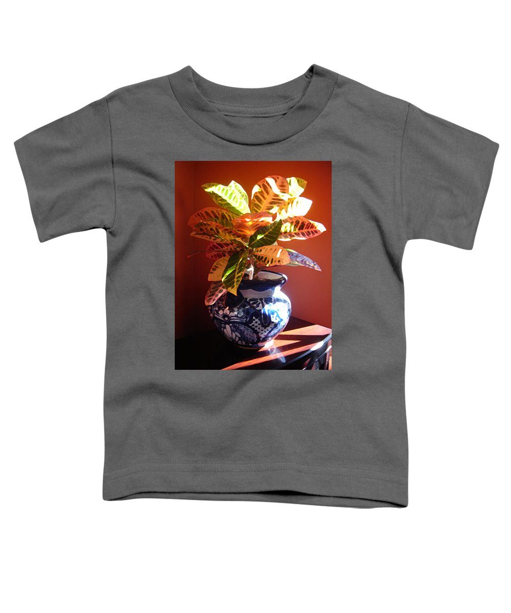 Potted Plant Toddler T-Shirt featuring the photograph Croton In Talavera Pot by Amy Vangsgard