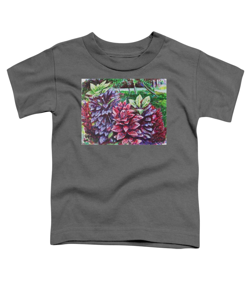 Landscape Toddler T-Shirt featuring the painting Crotons 1 by Usha Shantharam