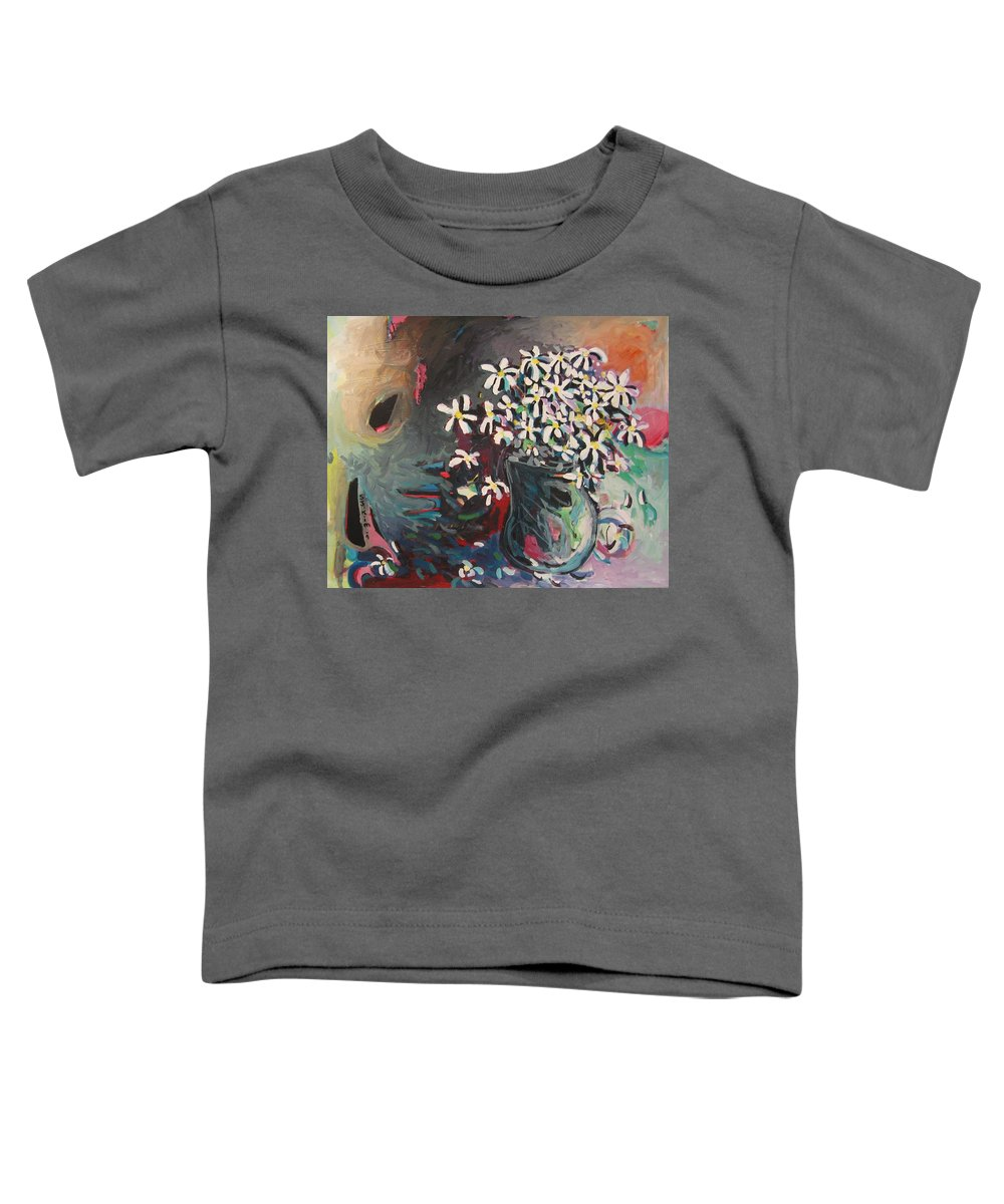 Daisy Paintings Toddler T-Shirt featuring the painting Daisy In Vase by Seon-Jeong Kim