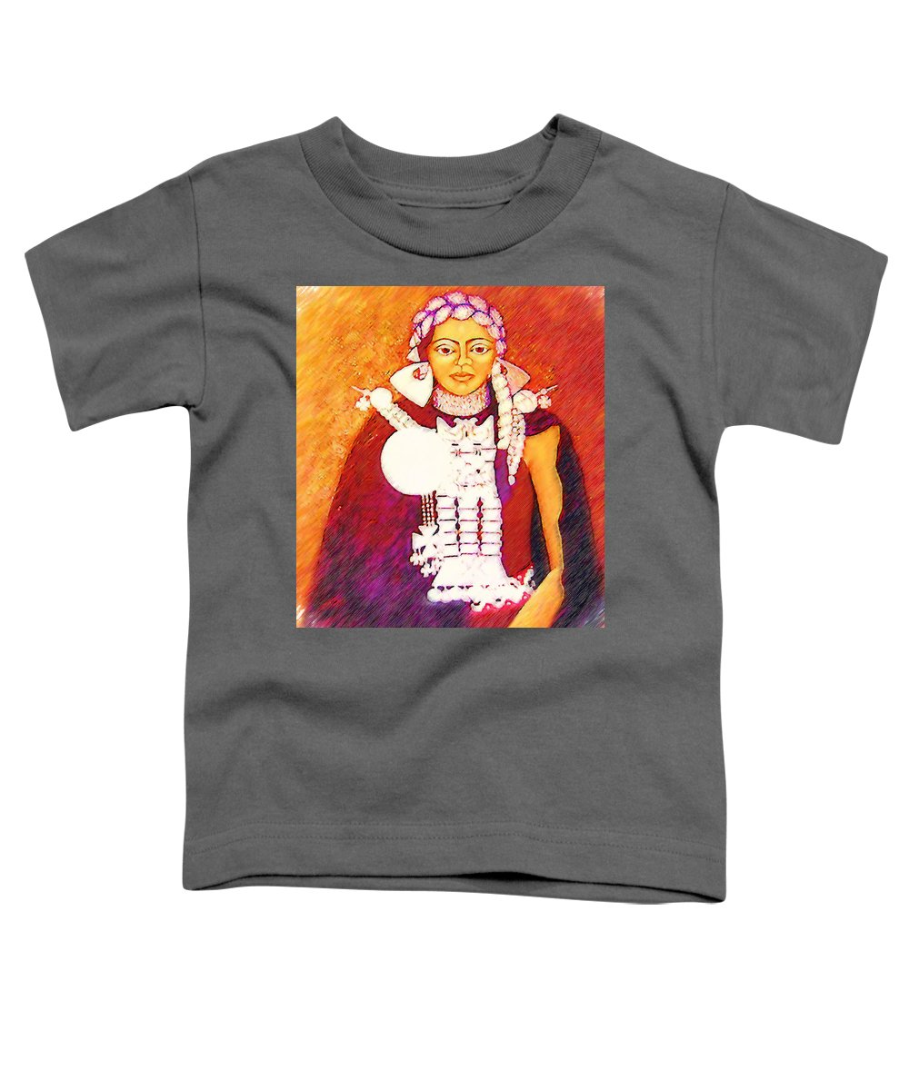 Portrait Toddler T-Shirt featuring the painting Daughter Of The Bright Sun - Kushe by Madalena Lobao-Tello