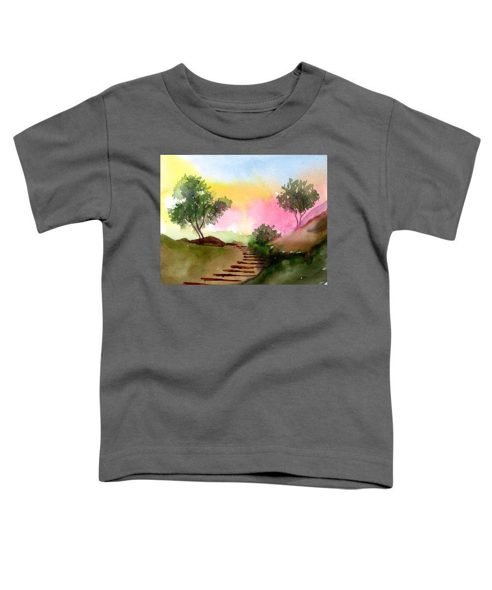 Landscape Toddler T-Shirt featuring the painting Dawn by Anil Nene