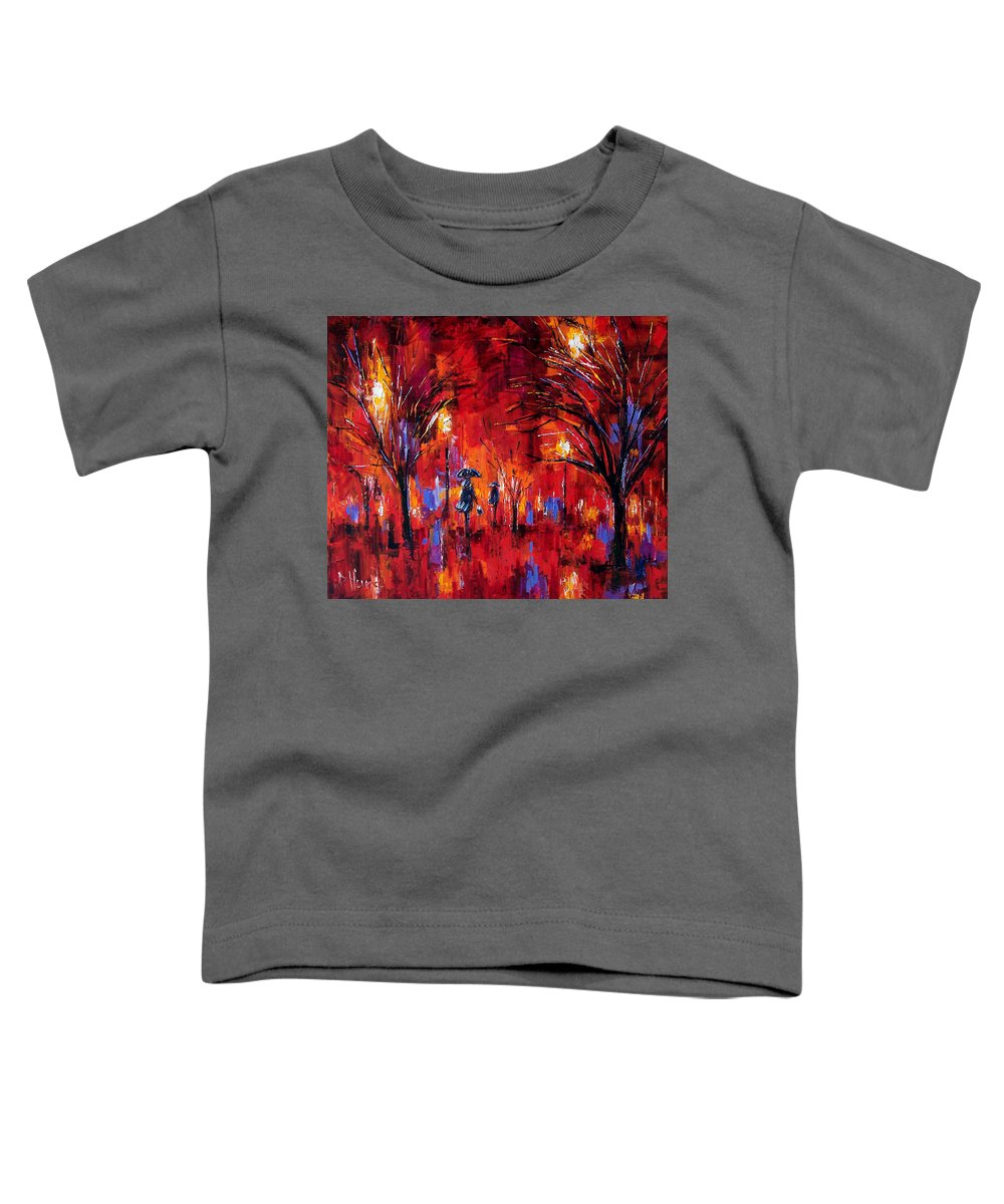 Umbrellas Toddler T-Shirt featuring the painting Deep Red by Debra Hurd