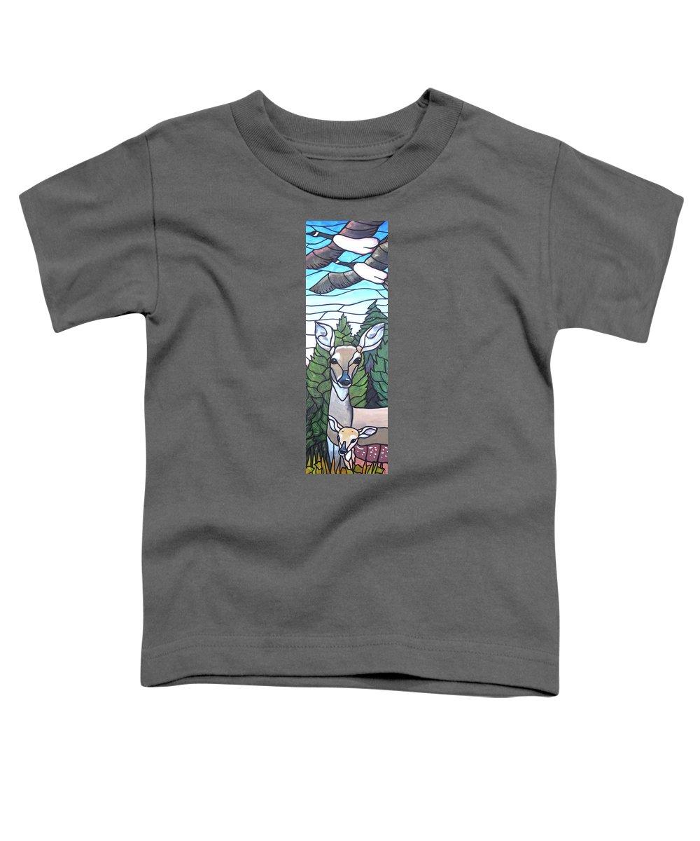 Deer Toddler T-Shirt featuring the painting Deer Scene by Jim Harris