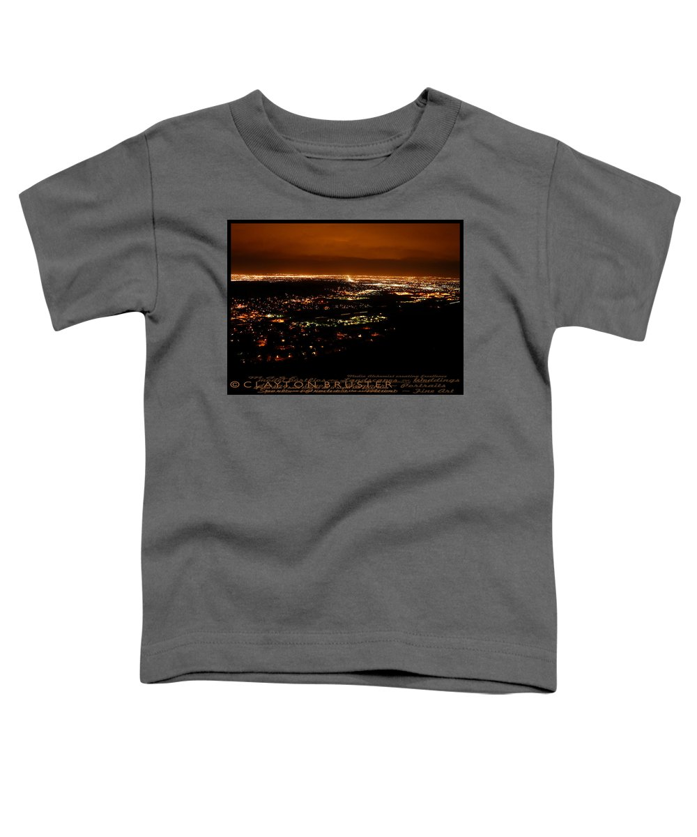 Clay Toddler T-Shirt featuring the photograph Denver Area At Night From Lookout Mountain by Clayton Bruster