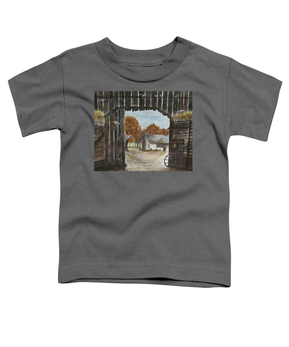 Grandpa And Grandma's Homeplace Toddler T-Shirt featuring the painting Down Home by Ben Kiger