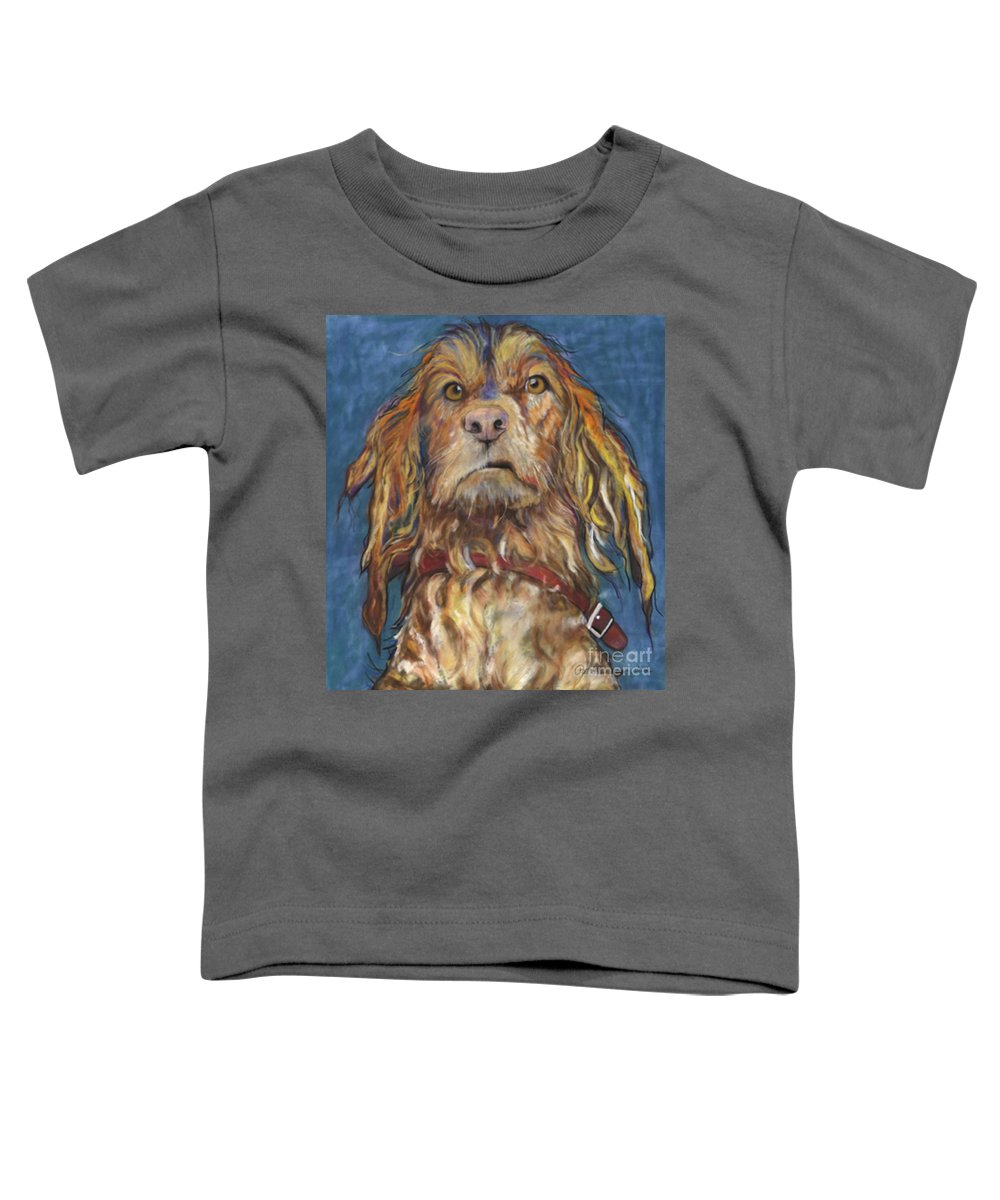 Golden Retriever Painting Toddler T-Shirt featuring the pastel Drenched by Pat Saunders-White