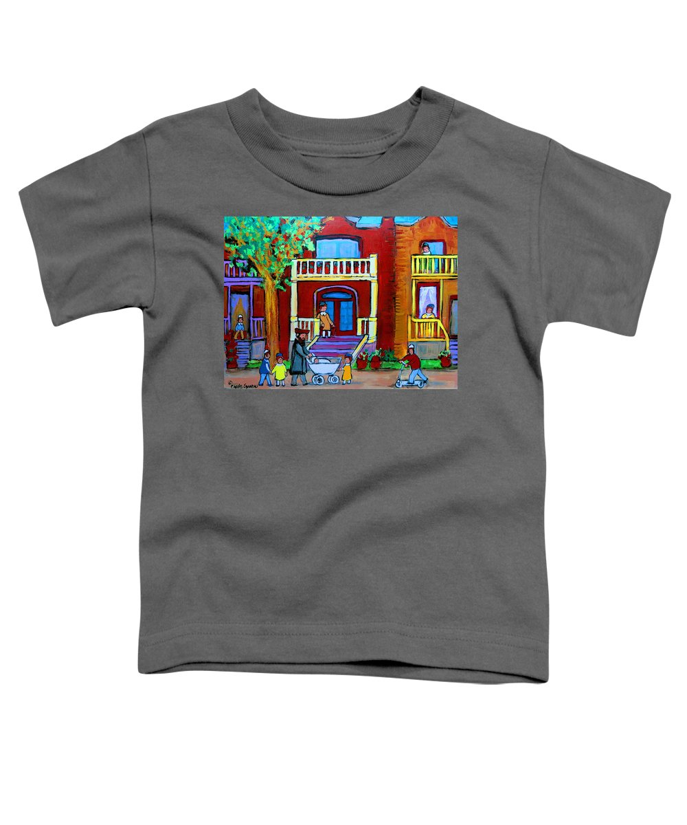 Judaica Toddler T-Shirt featuring the painting Durocher Street Montreal by Carole Spandau