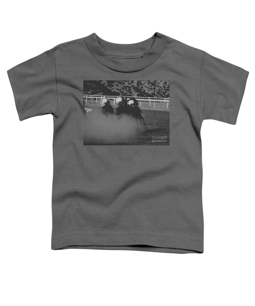 Horse Toddler T-Shirt featuring the photograph Dust And Butts by Kathy McClure