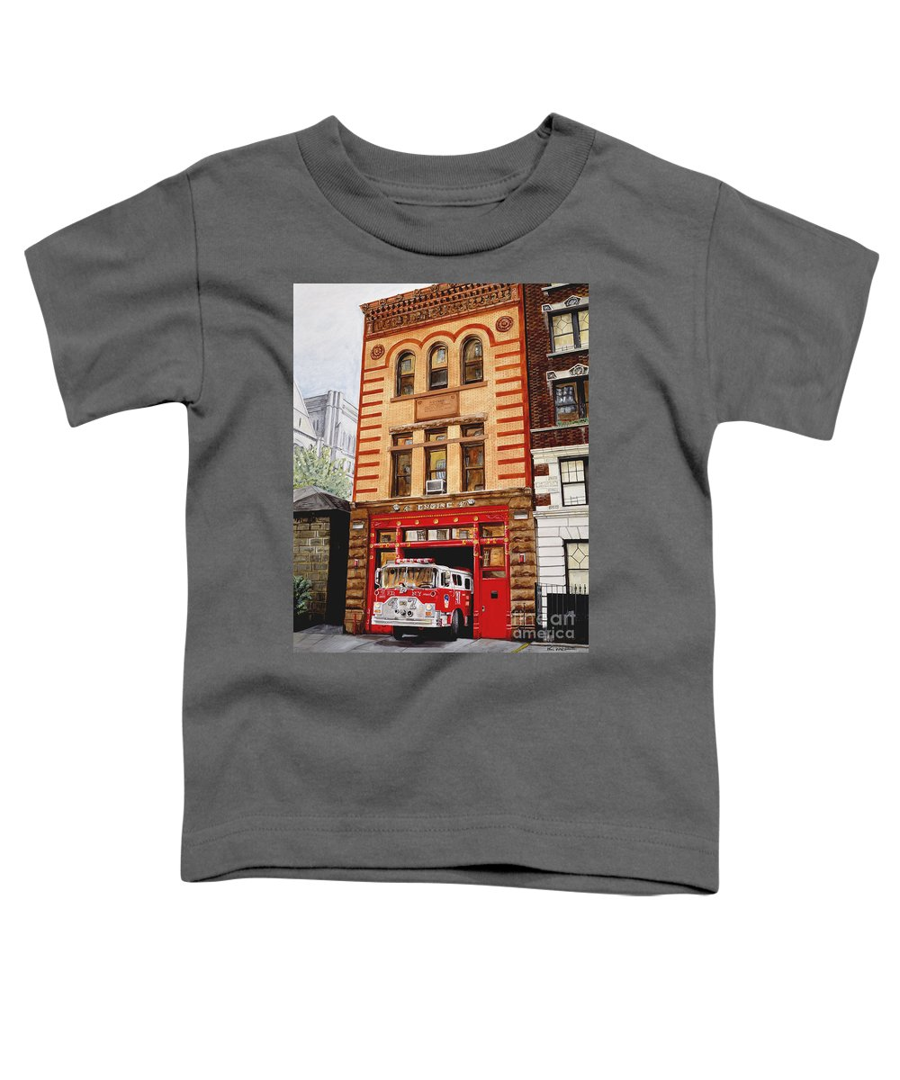 Firehouse Toddler T-Shirt featuring the painting Engine Company 47 by Paul Walsh