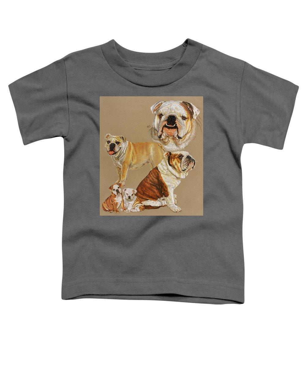 Purebred Toddler T-Shirt featuring the drawing English Bulldog by Barbara Keith