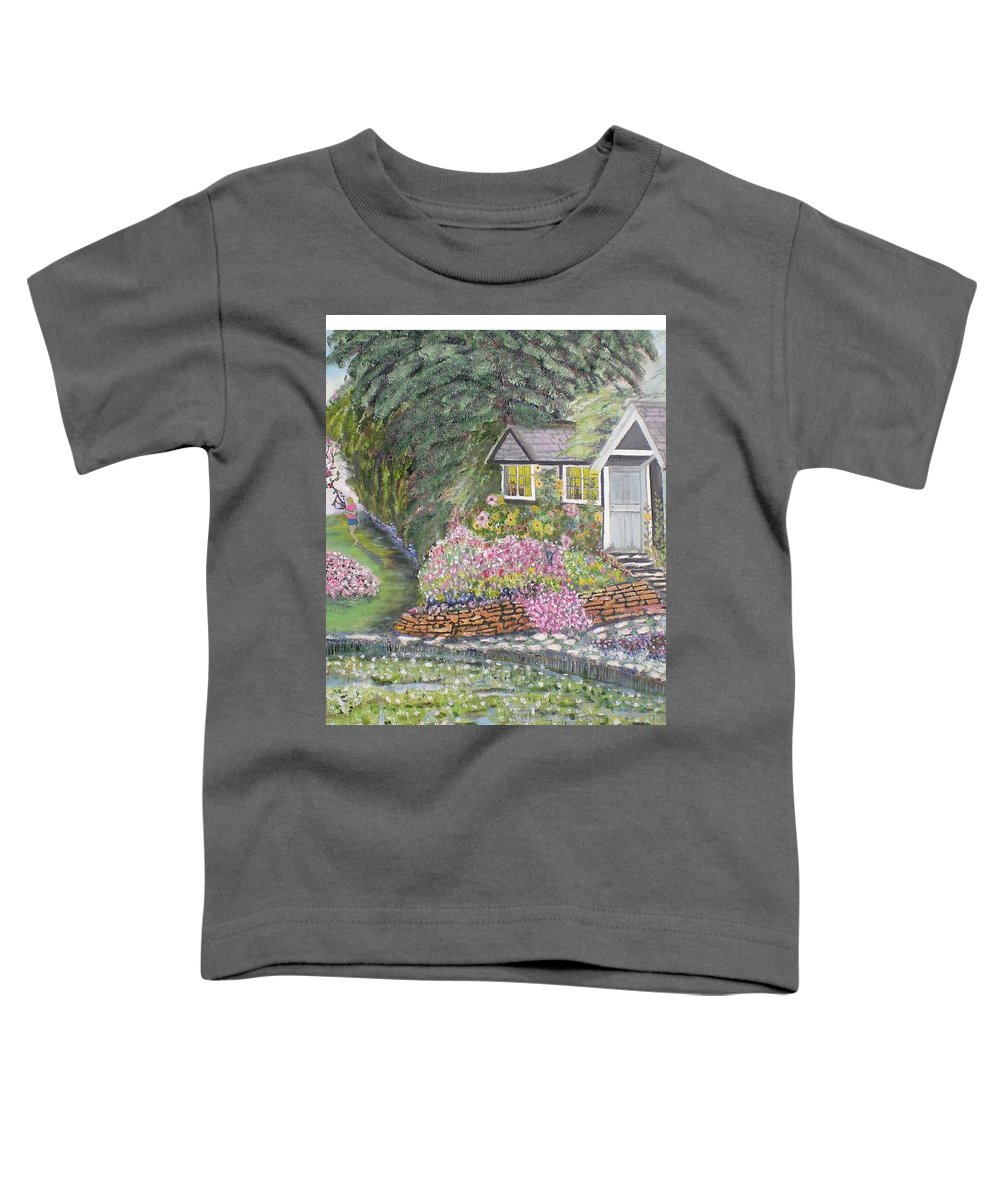 Cottage Toddler T-Shirt featuring the painting English Cottage by Hal Newhouser
