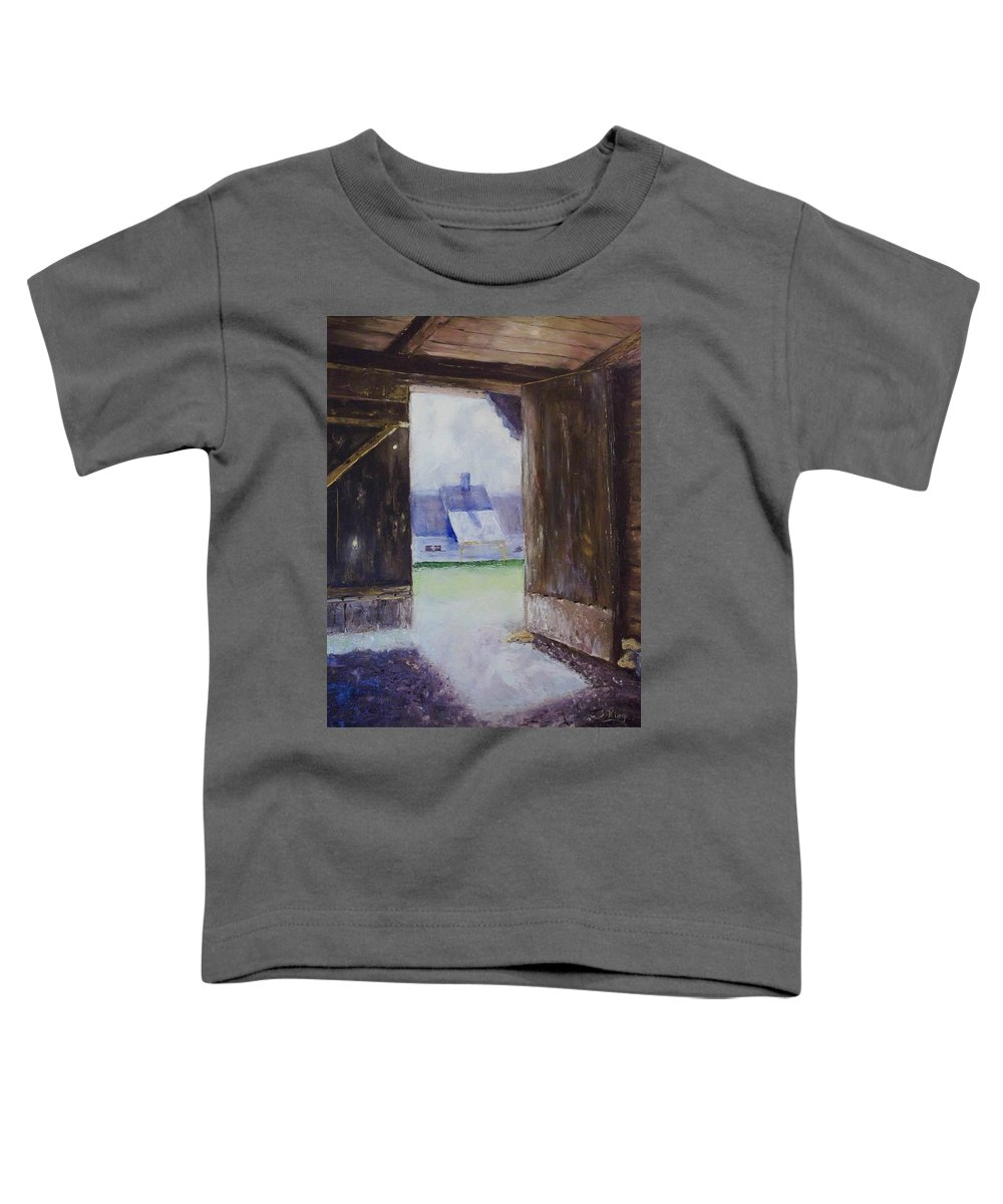 Shed Toddler T-Shirt featuring the painting Escape The Sun by Stephen King