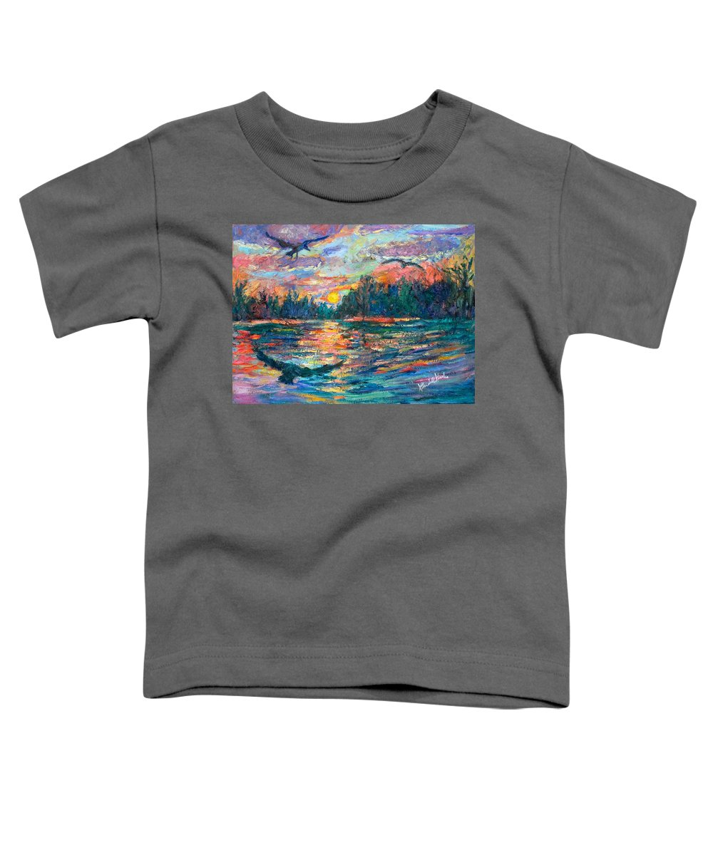 Landscape Toddler T-Shirt featuring the painting Evening Flight by Kendall Kessler