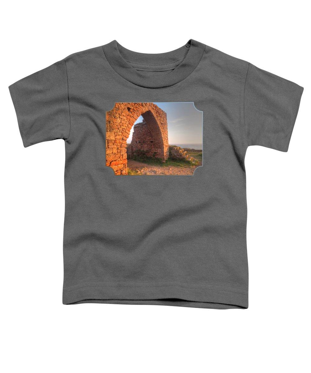 Coastal Scene Toddler T-Shirt featuring the photograph Evening Light On Grosnez Castle Ruins Jersey by Gill Billington