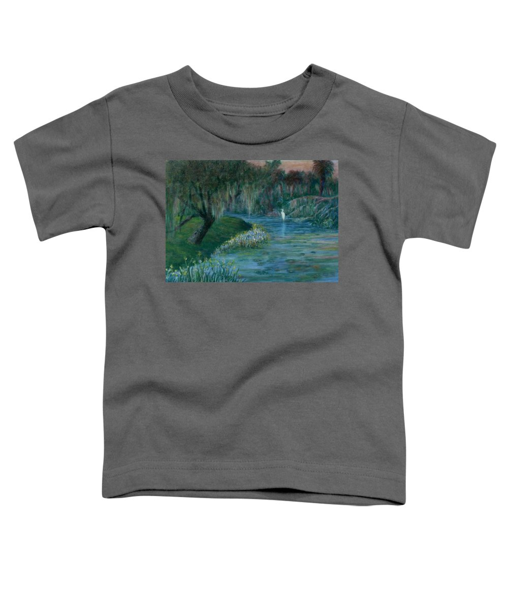 Low Country; Egrets; Lily Pads Toddler T-Shirt featuring the painting Evening Shadows by Ben Kiger
