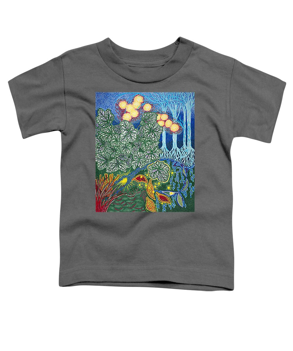 Art Toddler T-Shirt featuring the drawing Exciting Harmony Art Prints And Gifts Autumn Leaves Botanical Garden Park Plants by Baslee Troutman