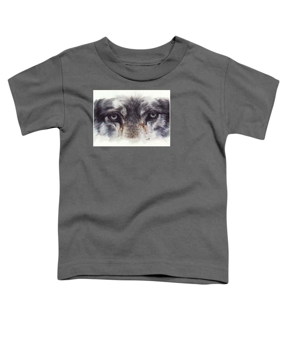 Wolf Toddler T-Shirt featuring the painting Eye-catching Wolf by Barbara Keith