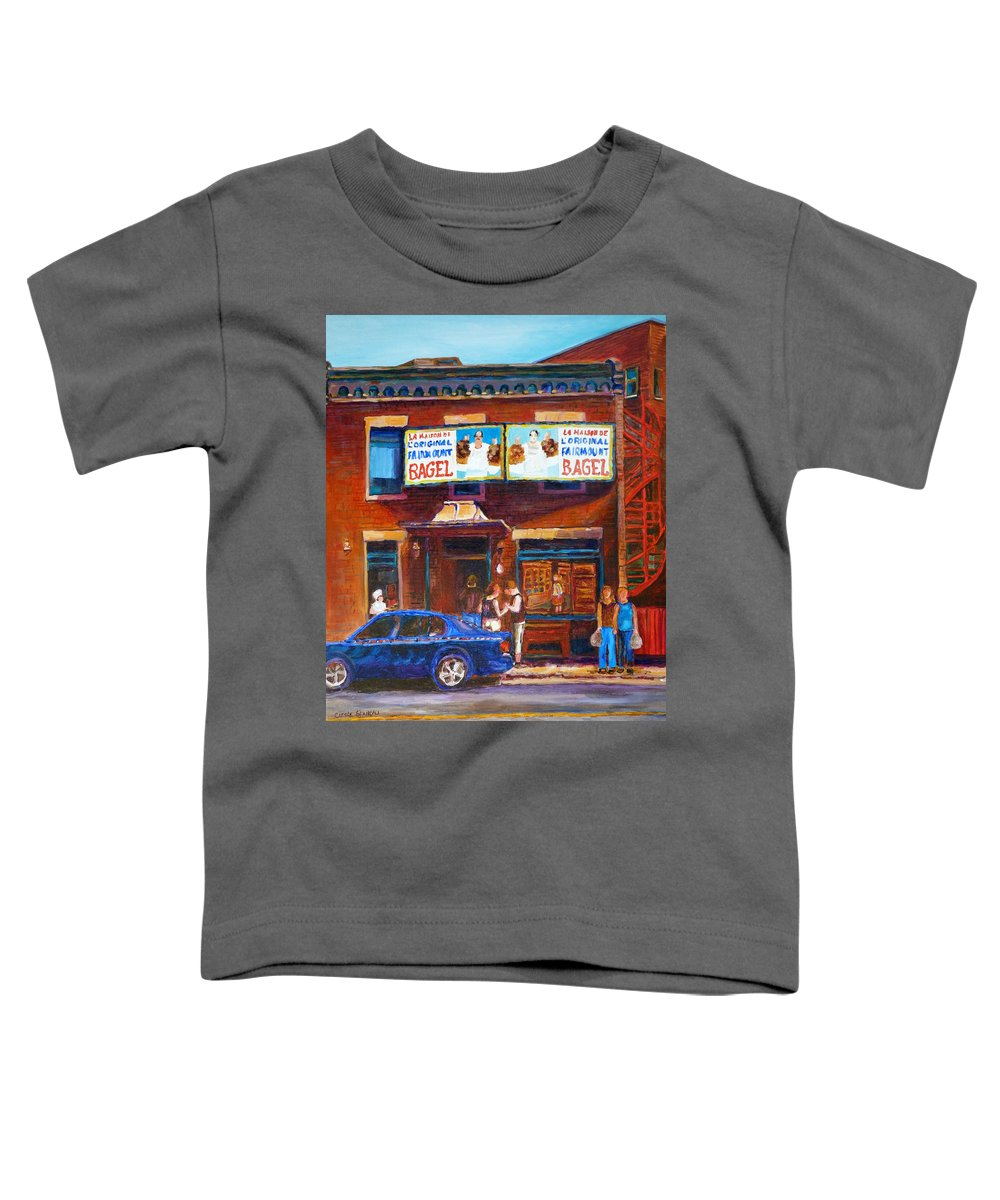 Fairmount Bagel Toddler T-Shirt featuring the painting Fairmount Bagel With Blue Car by Carole Spandau