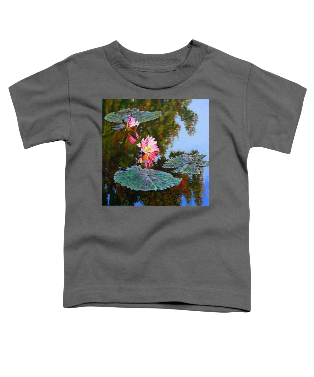 Water Lily Toddler T-Shirt featuring the painting Fall Glow by John Lautermilch