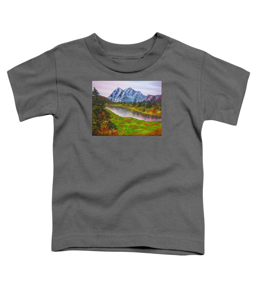 Fall Toddler T-Shirt featuring the painting Fall In Mountains Landscape Oil Painting by Natalja Picugina