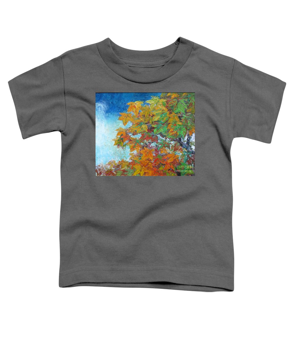 Fall Toddler T-Shirt featuring the painting Fall Leaves by Meihua Lu