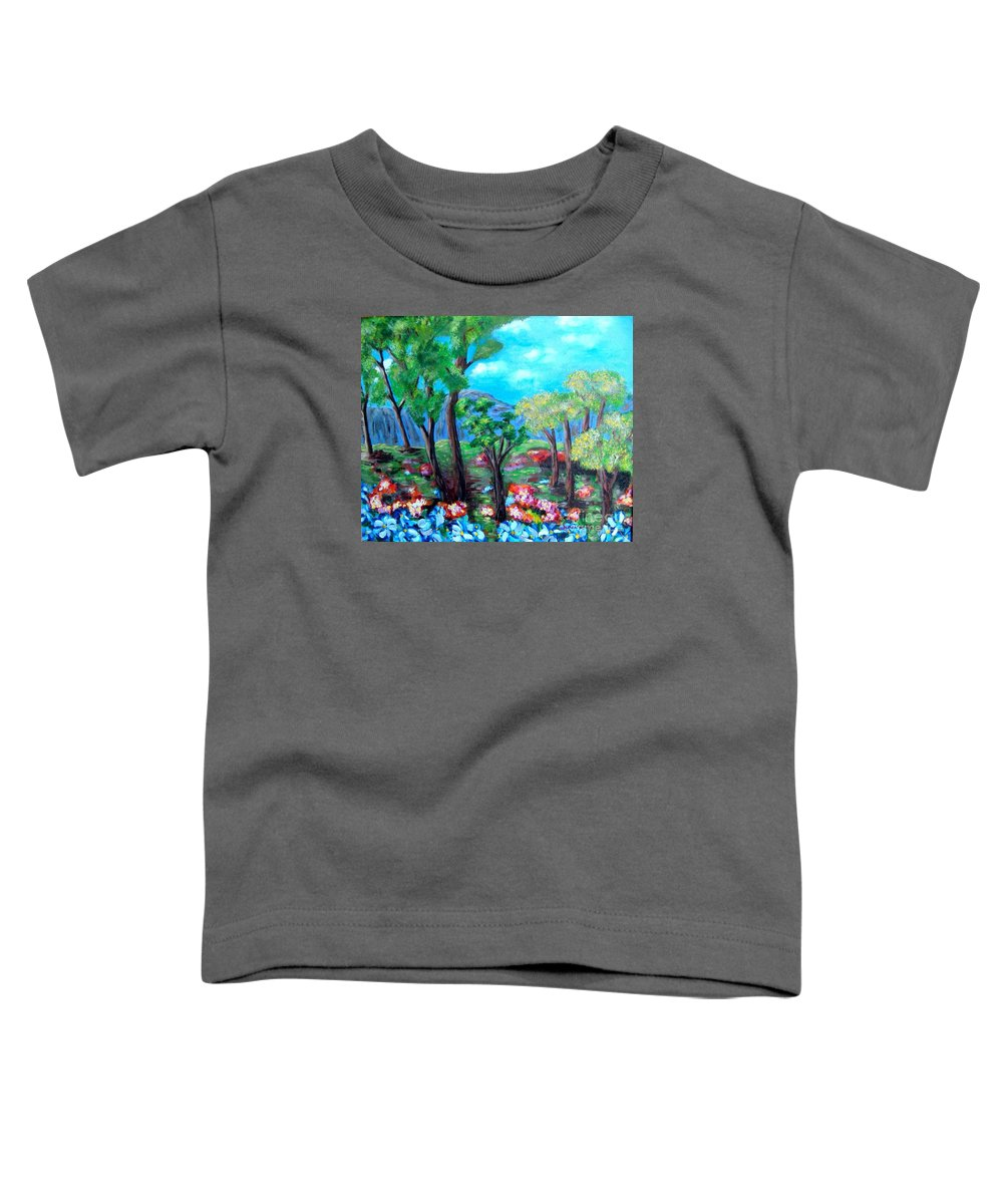 Fantasy Toddler T-Shirt featuring the painting Fantasy Forest by Laurie Morgan