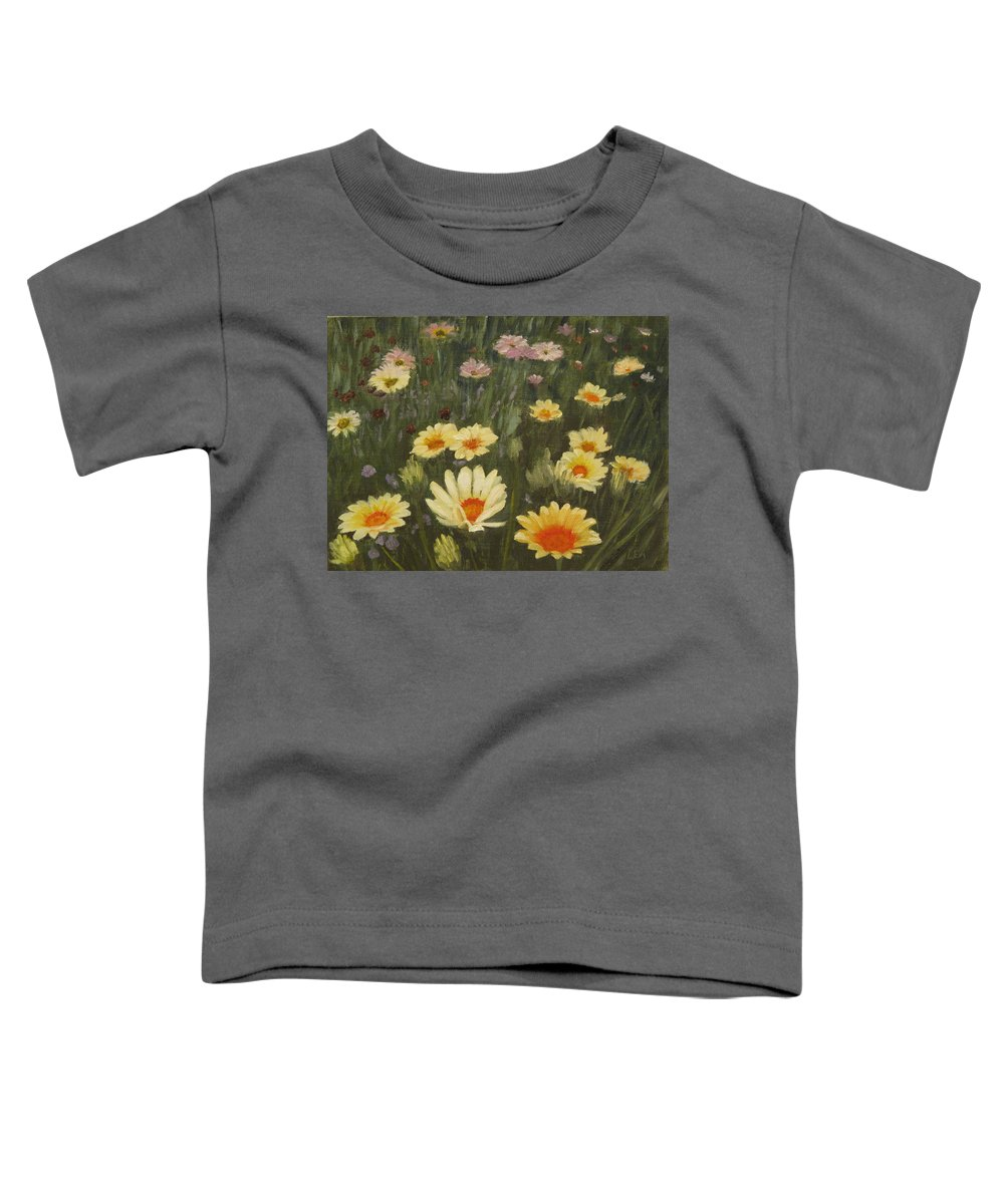 Flower Toddler T-Shirt featuring the painting Field Of Flowers by Lea Novak