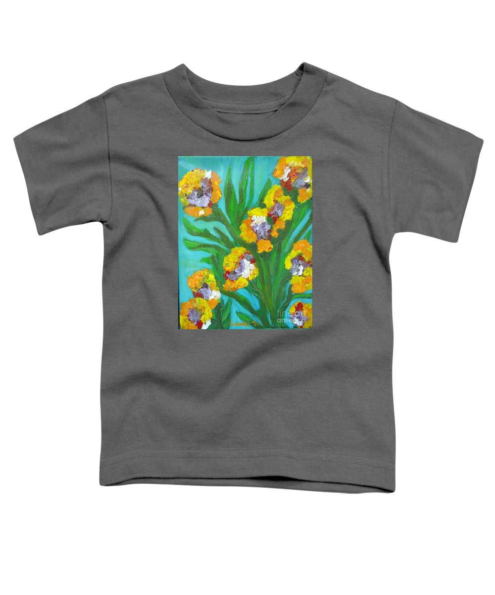 Flower Toddler T-Shirt featuring the painting Fire Blossoms by Laurie Morgan