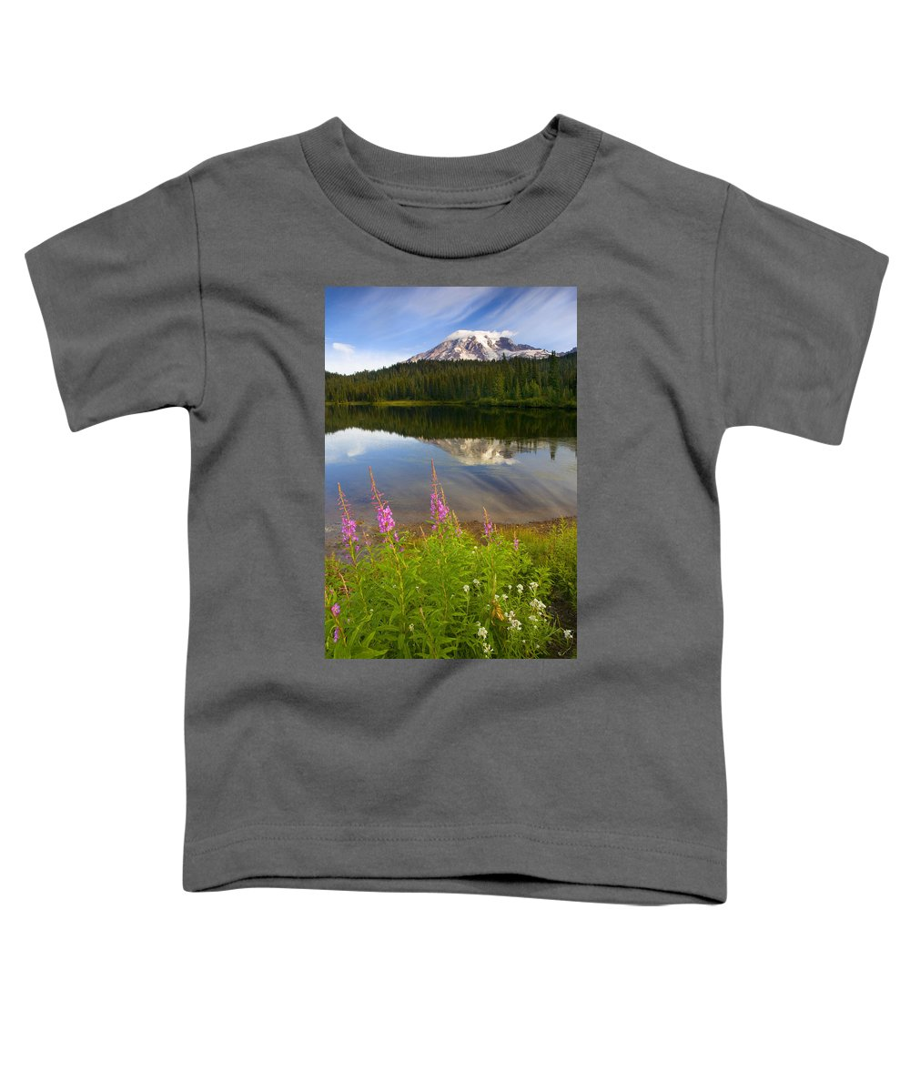 Fireweed Toddler T-Shirt featuring the photograph Fireweed Reflections by Mike Dawson