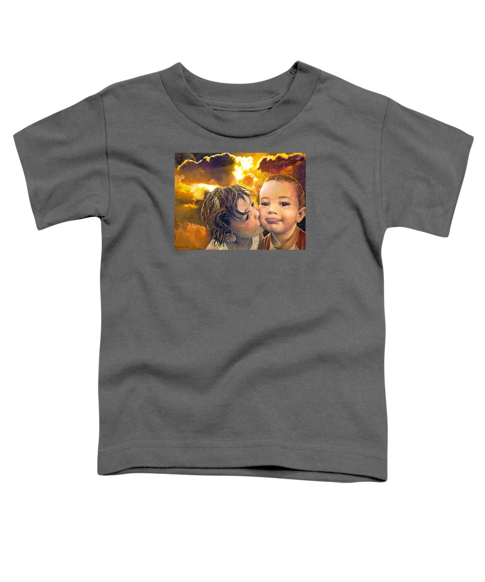 Children Toddler T-Shirt featuring the painting First Kiss by Michael Durst
