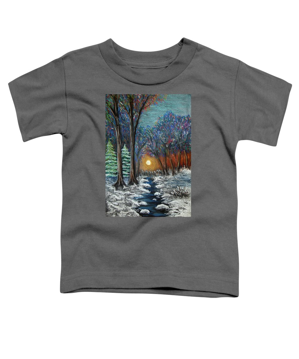 Snow Toddler T-Shirt featuring the pastel First Snow by Nancy Mueller