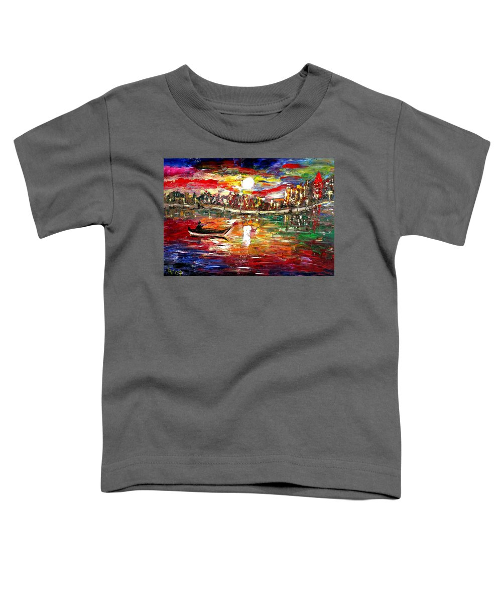 Art Toddler T-Shirt featuring the painting Fishing In The Moonlight by Luiza Vizoli