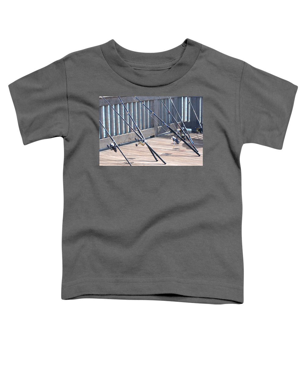 Pier Toddler T-Shirt featuring the photograph Fishing Rods by Rob Hans