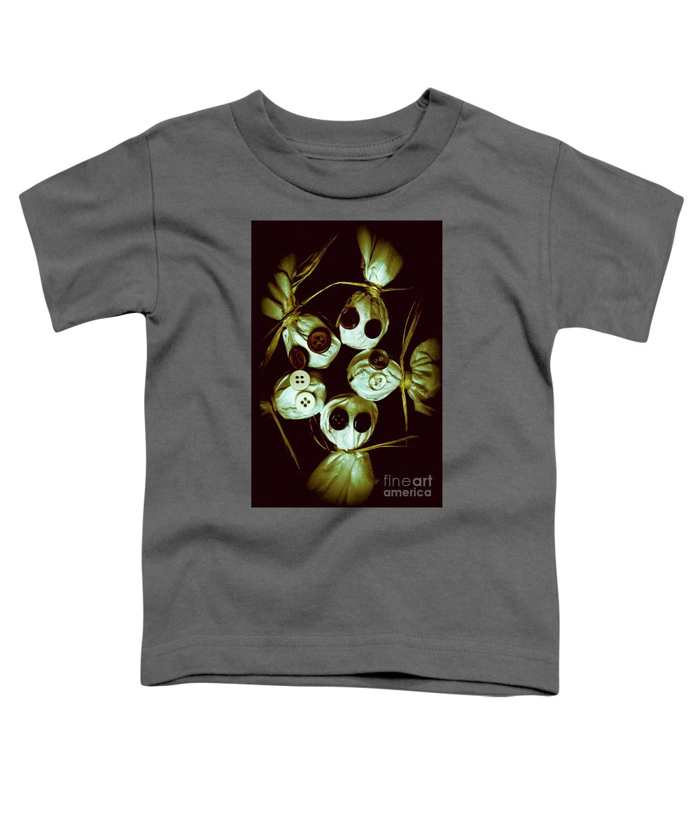 Horror Toddler T-Shirt featuring the photograph Five Halloween Dolls With Button Eyes by Jorgo Photography - Wall Art Gallery