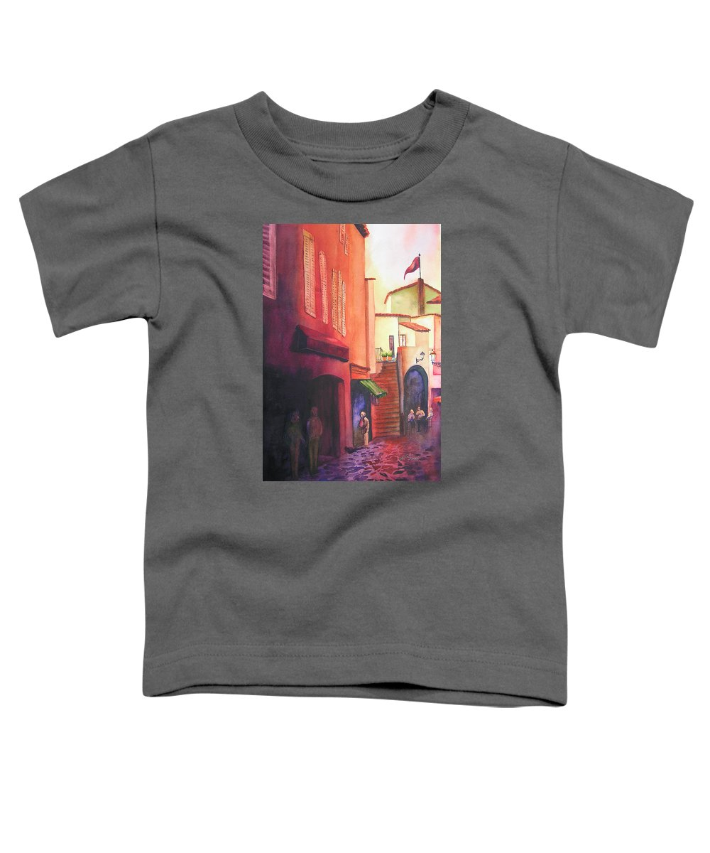 Europe Toddler T-Shirt featuring the painting Flag Over St. Tropez by Karen Stark