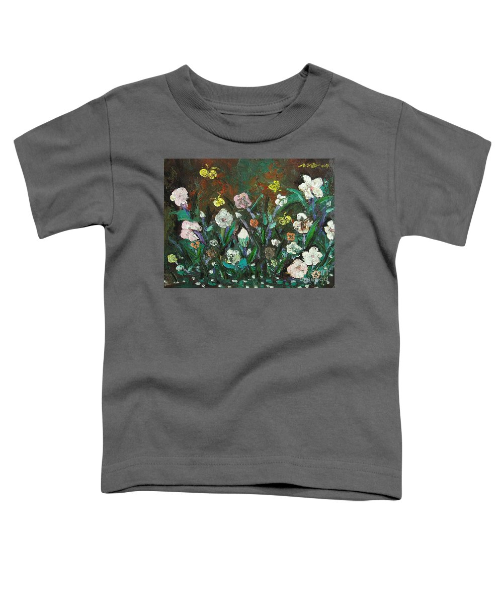 Abstract Paintings Toddler T-Shirt featuring the painting Flower Garden by Seon-Jeong Kim