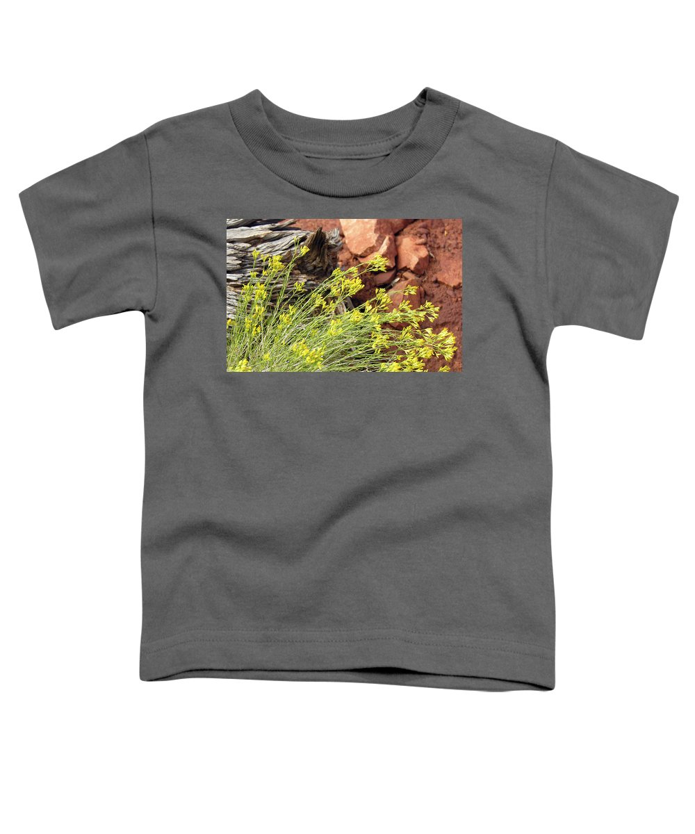 Flower Toddler T-Shirt featuring the photograph Flower Wood And Rock by Marilyn Hunt