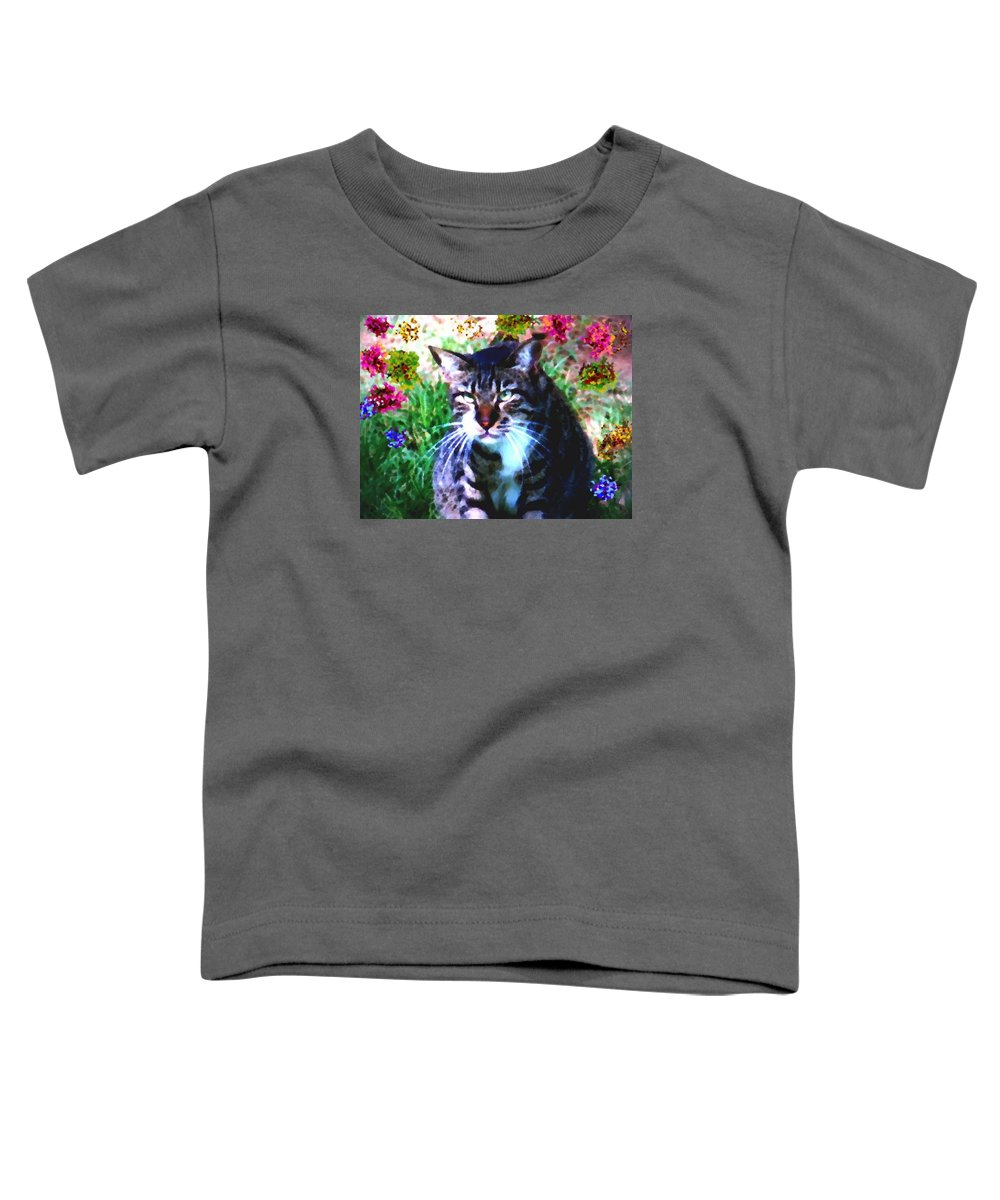 Cat Grey Attention Grass Flowers Nature Animals View Toddler T-Shirt featuring the digital art Flowers And Cat by Dr Loifer Vladimir