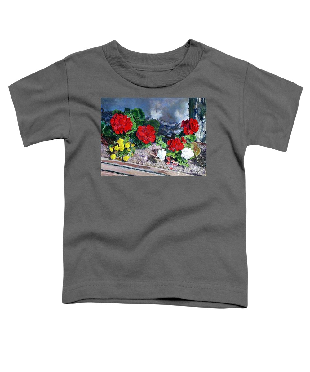 Colorful Flowers Outside Of The Church Toddler T-Shirt featuring the painting Flowers At Church by Scott Robertson