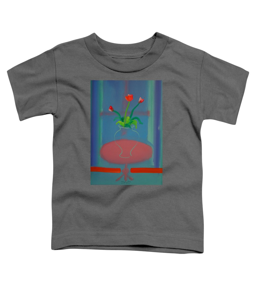 Dufy Toddler T-Shirt featuring the painting Flowers In A Bay Window by Charles Stuart