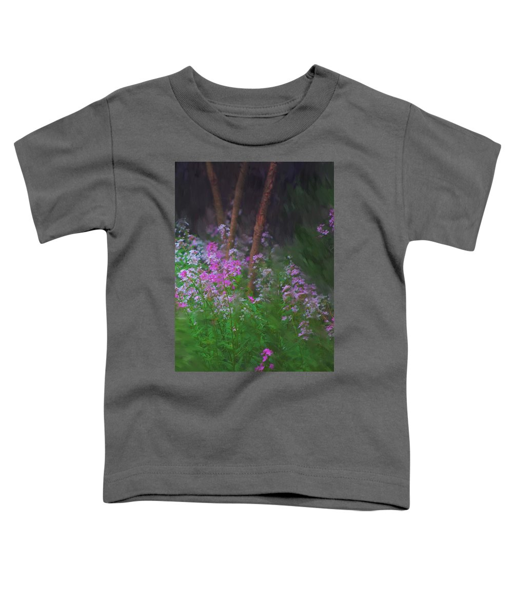 Landscape Toddler T-Shirt featuring the painting Flowers In The Woods by David Lane