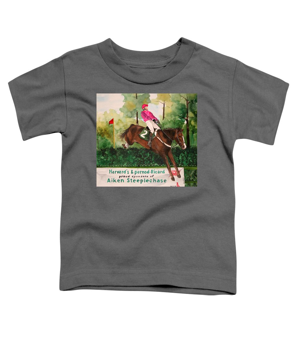Horse Toddler T-Shirt featuring the painting Flying High by Jean Blackmer