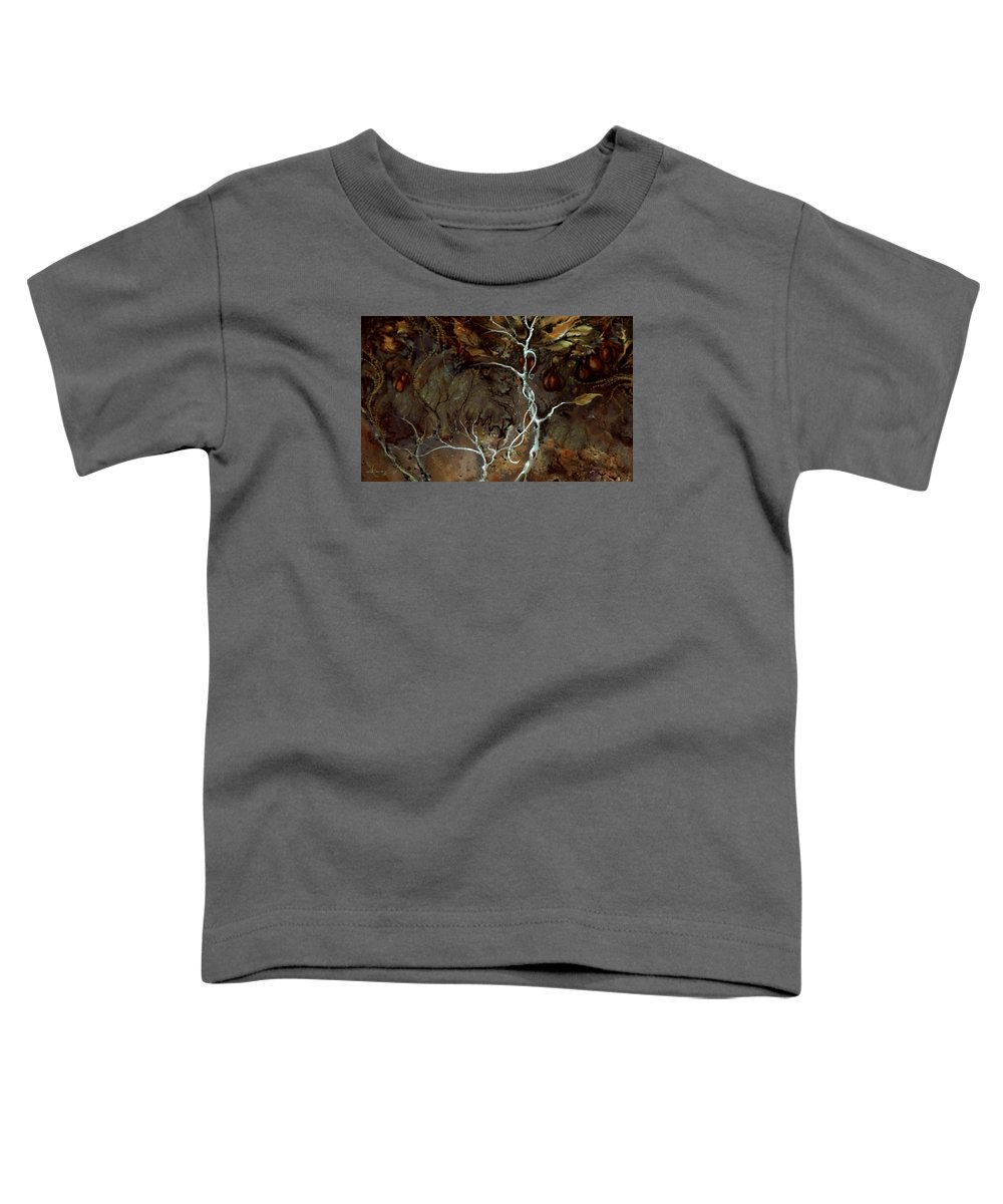 Eden Toddler T-Shirt featuring the painting Forbidden Fruit by Hans Neuhart