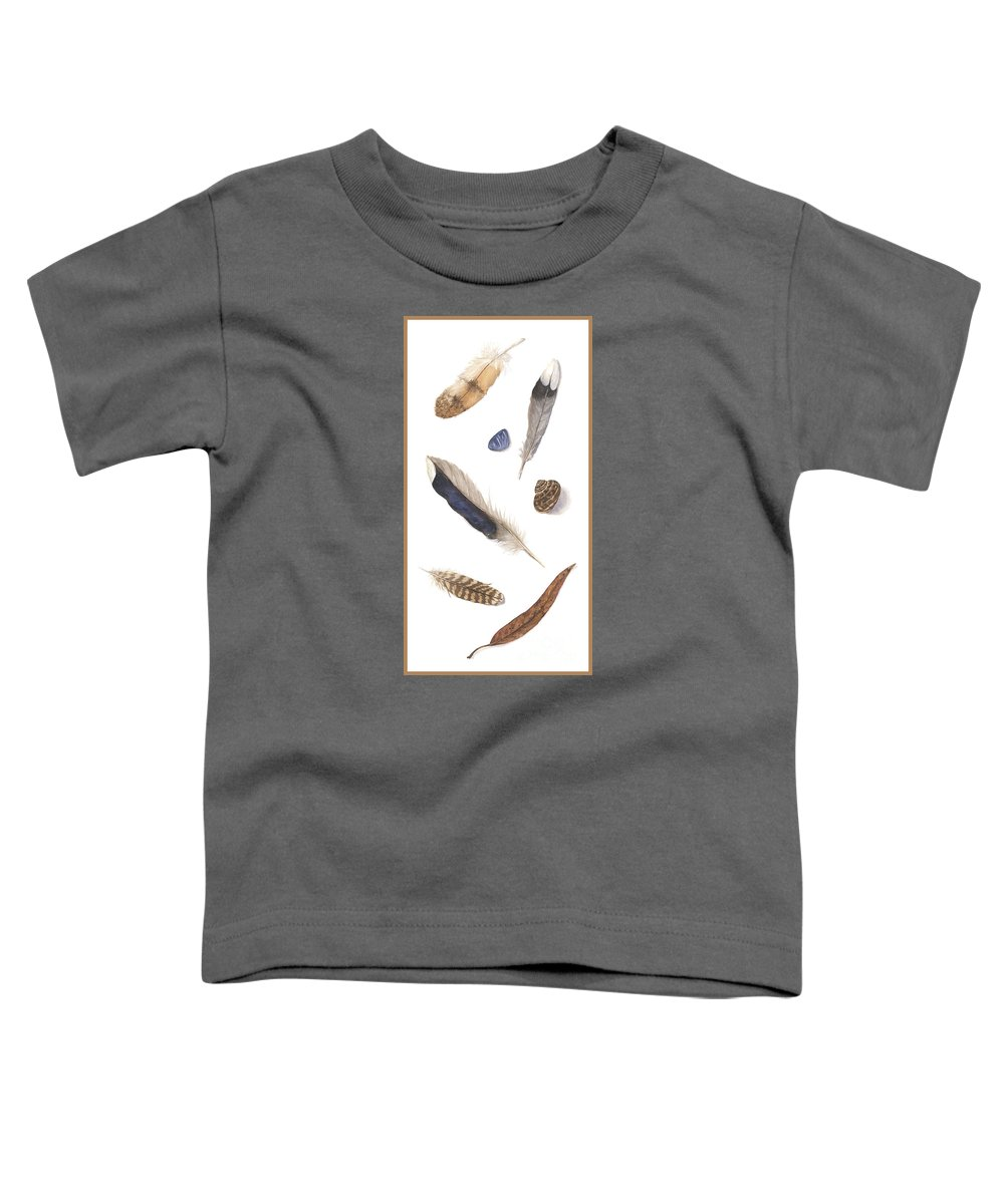Feathers Toddler T-Shirt featuring the painting Found Treasures by Lucy Arnold